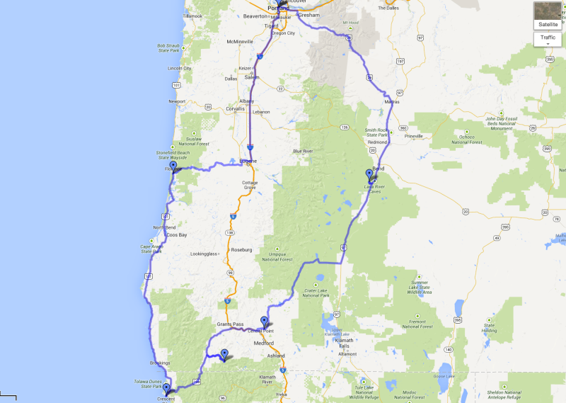 Oregon Road Trip Map 2013